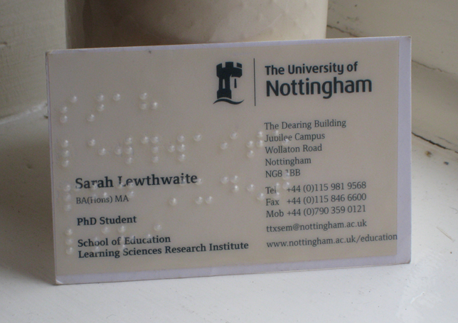 University business card with braille sticker