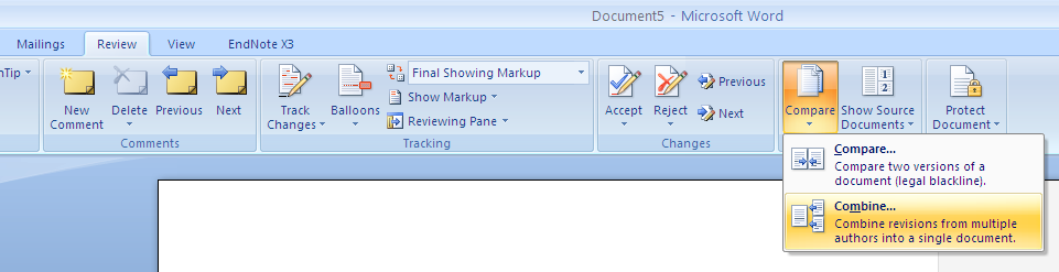 Selecting Combine via the Review Menu in Word 2007